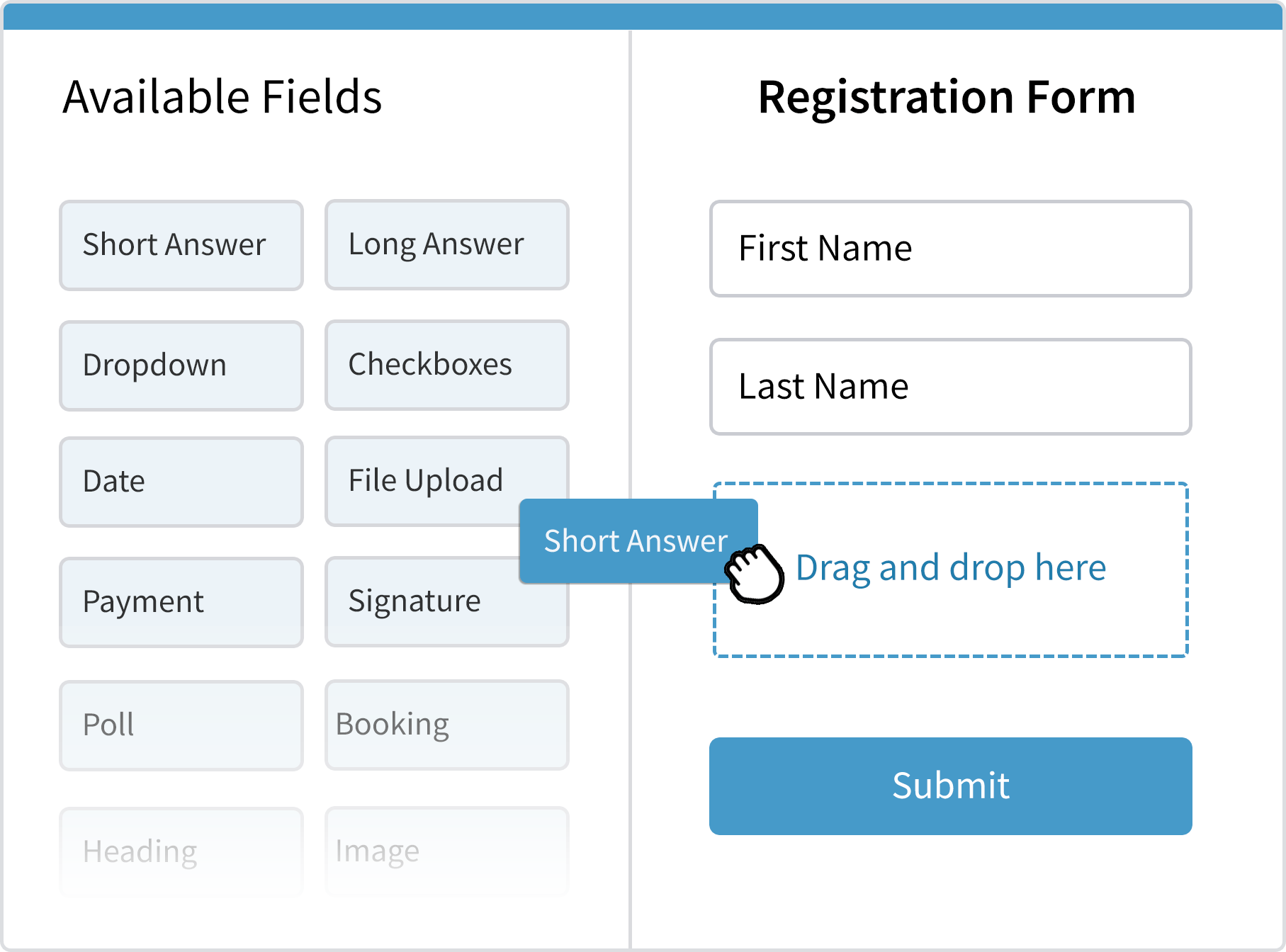 Drag and drop fields in to your form